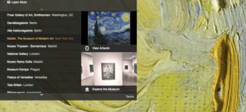 Interfaccia di Google Art Project: la scelta del museo